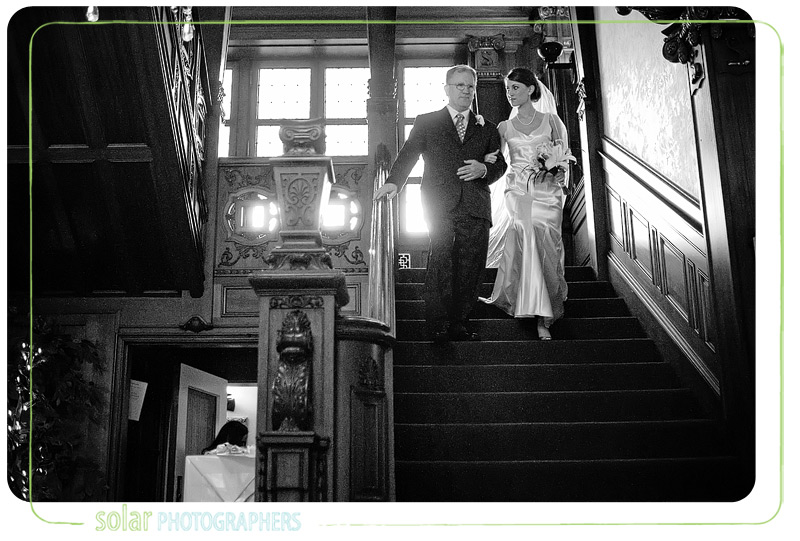 A lovely moment of a father walking his daughter down the aisle at her Kansas City wedding.
