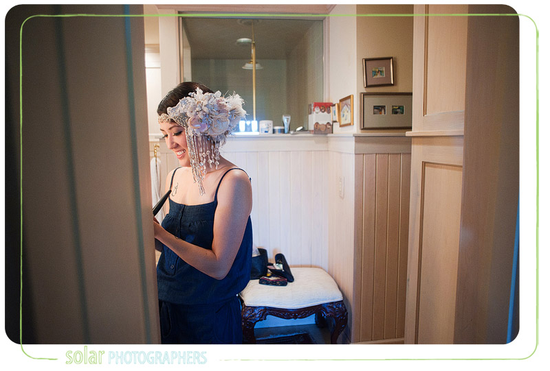 Bride getting ready for her wedding ceremony.