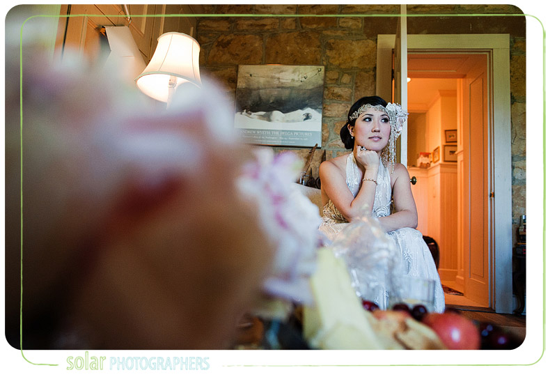Bride waits for her wedding to begin.