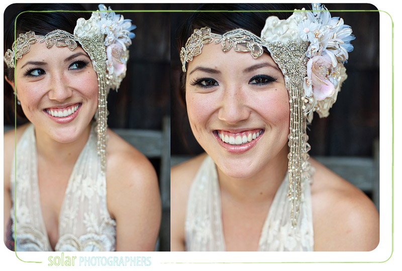 Beautiful bridal portraits of a bride wearing a vintage headpiece.