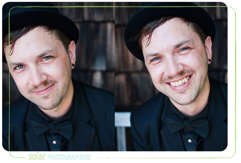 Portraits of a groom smiling.