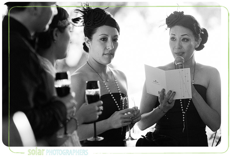 Emotional toasts by the bride's sisters at her wedding.