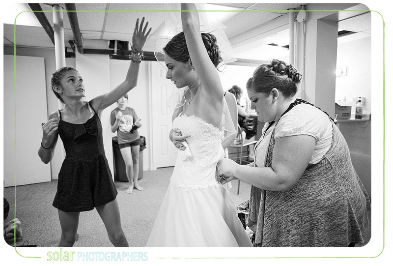 A bride gets ready for her wedding in Kansas City.