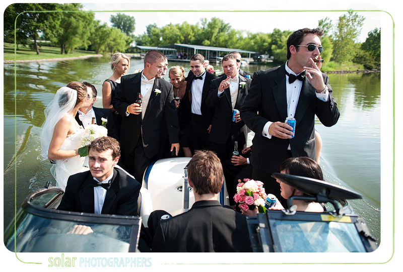 A candid bridal party shot while they're hanging out on a boat.