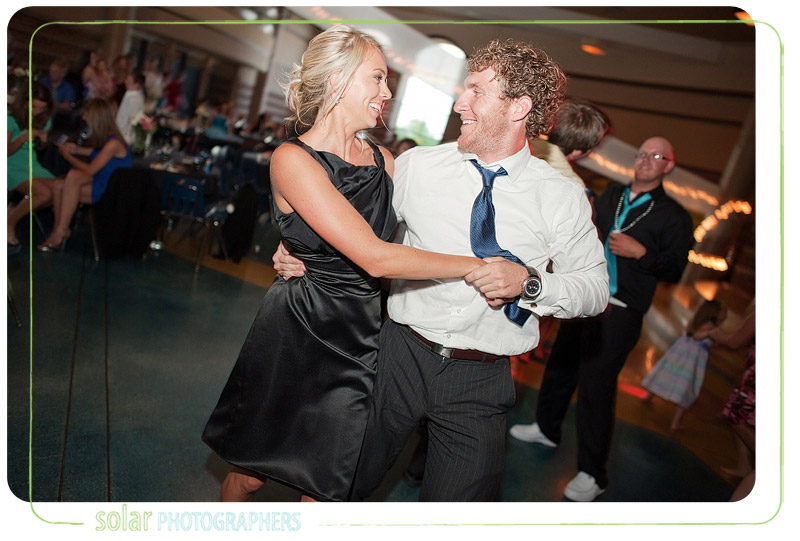 Fun dancing at a wedding reception.
