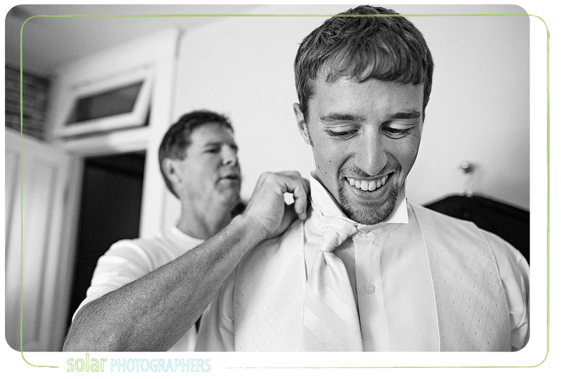 Groom getting ready for his Kansas City wedding at the Hawthorne House.