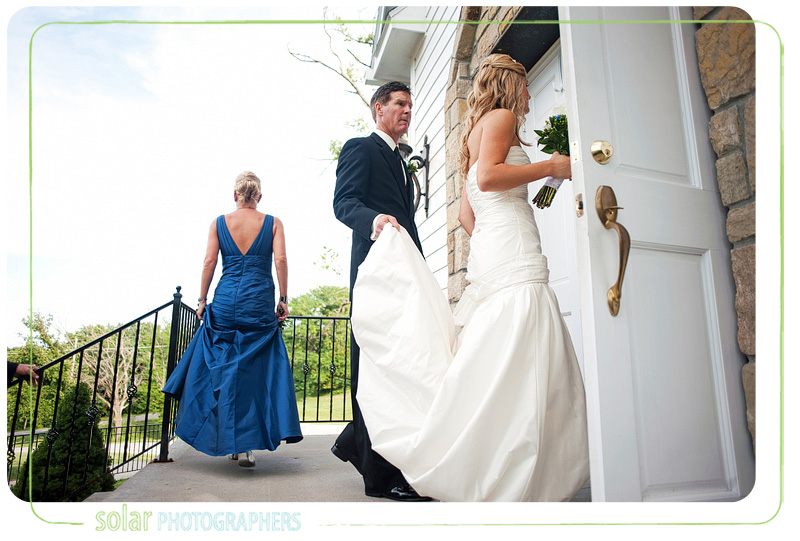 Bride and her dad enter the Hawthorne House chapel in Kansas City for her wedding ceremony.