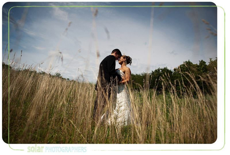Beautiful portrait of a bride and groom in tall grass.