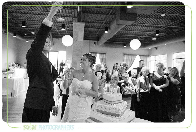 Happy groom toasts his bride at their Kansas City wedding reception at Terrace on the Green.