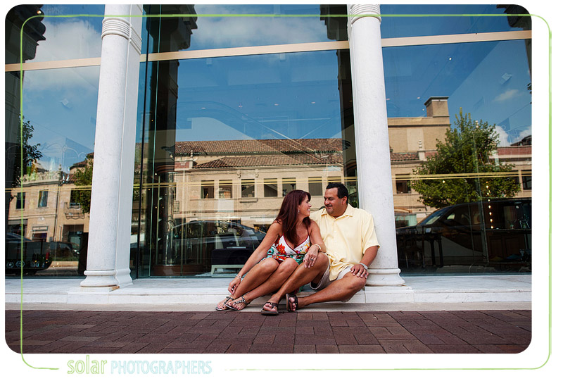 Cute engagement picture taken on the Plaza in Kansas City.