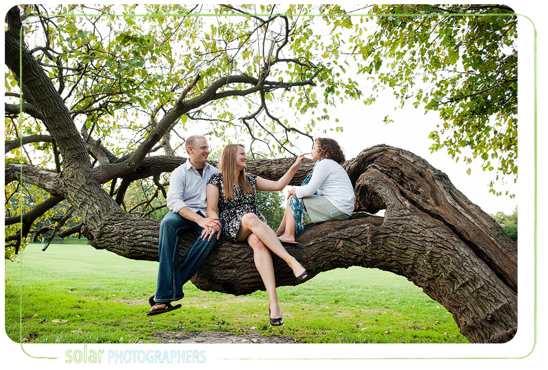 Cute family portrait in a tree at Loose Park in Kansas City.