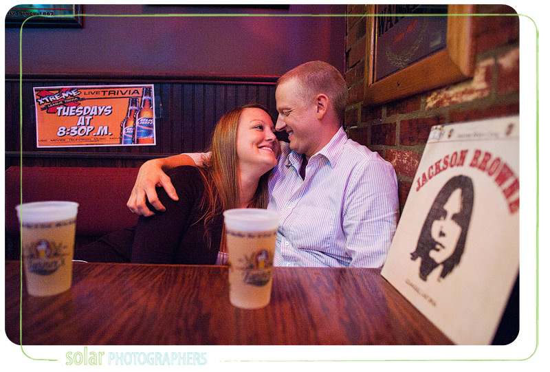 Sweet engagement picture taken at Tanners in Kansas City.