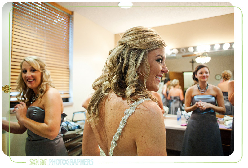 Beautiful candid image of the bride before her wedding ceremony.