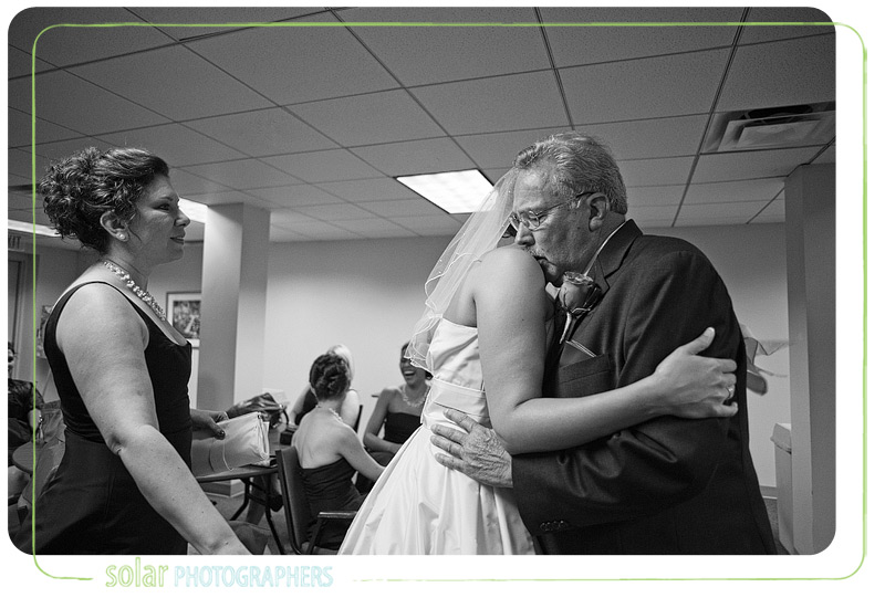 Emotional moment between the father of the bride and the bride.