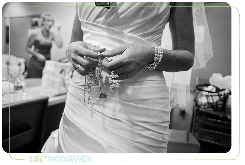 Bride with beautiful antique rosary.