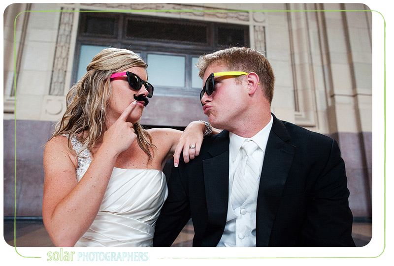 Funny bride and groom portrait.