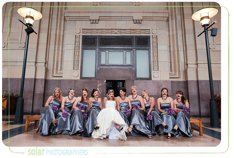 Fun bridal party picture taken at Union Station in Kansas City, MO.