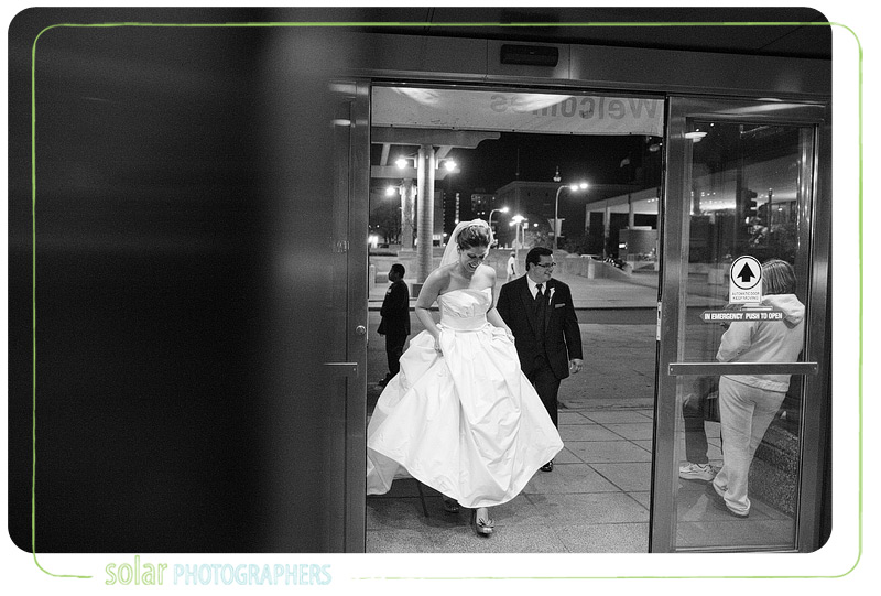Bride and groom enter the Muehlebach in Kansas City.