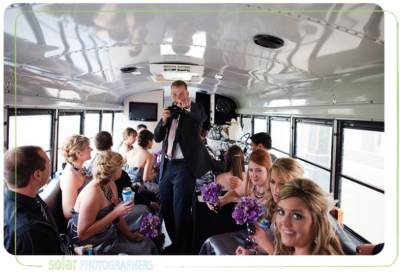 Fun party bus wedding picture.