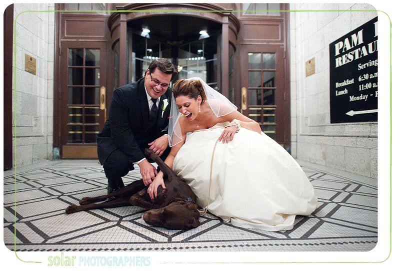 Bride and groom with their chocolate lab.