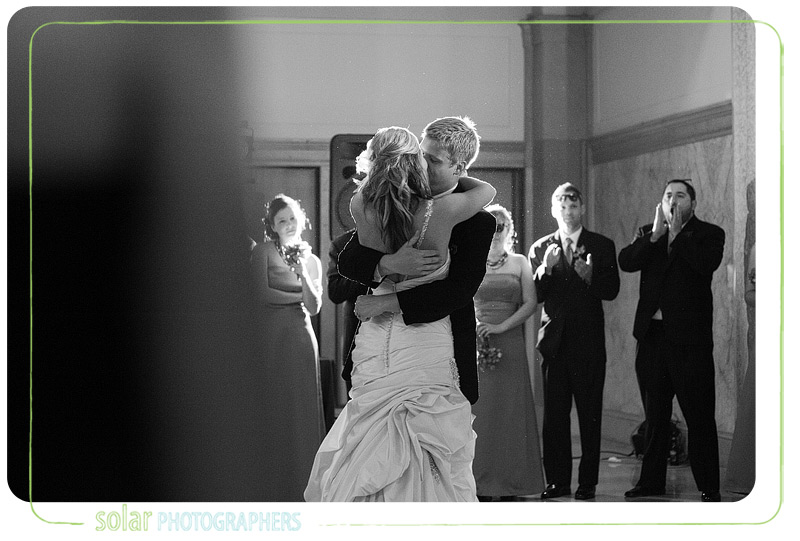 Awesome first dance shot at a Kansas City wedding reception.