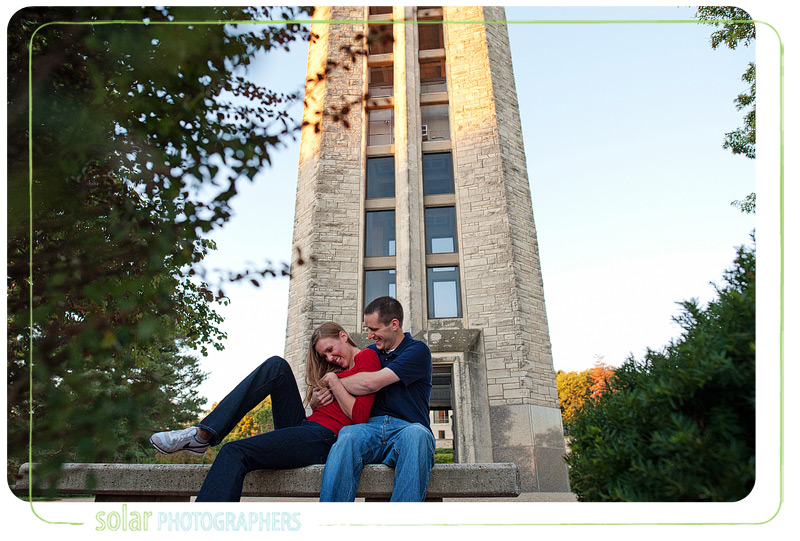 Awesome engagement picture taken by Campanile on KU campus.