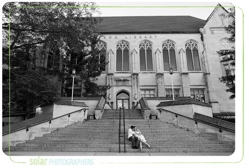 Awesome engagement picture taken in front of the KU library.