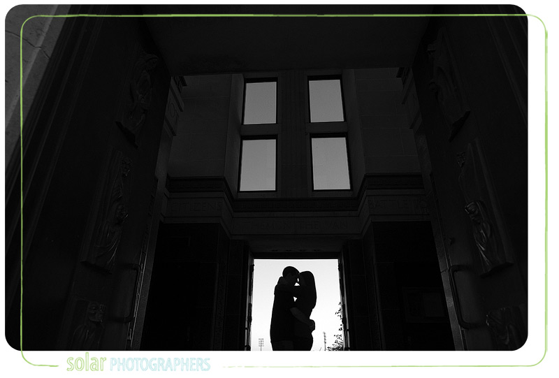 Beautiful engagement picture taken in Campanile Tower.