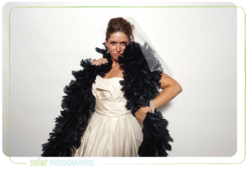 Bride in the photo booth.