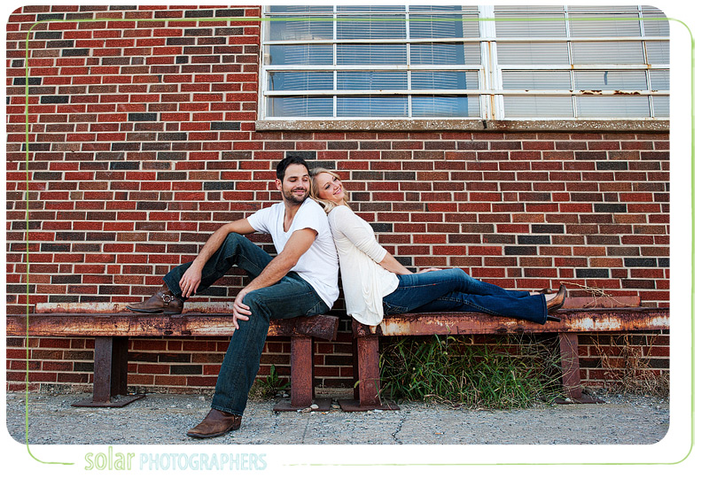 Cute couple on a bench in Kansas City.
