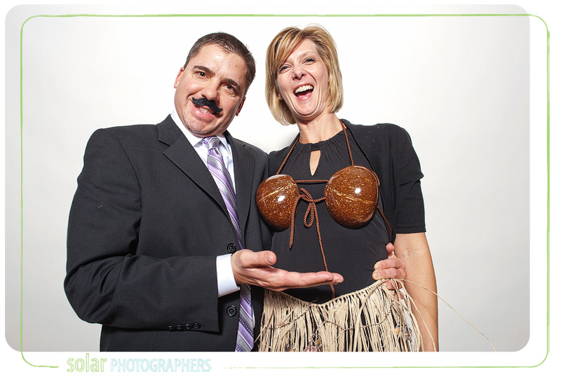 Mustaches and coconuts in the photo booth.