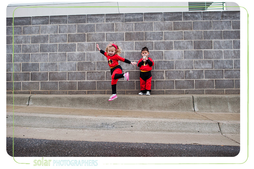 Fun kids dressed as the Incredibles.