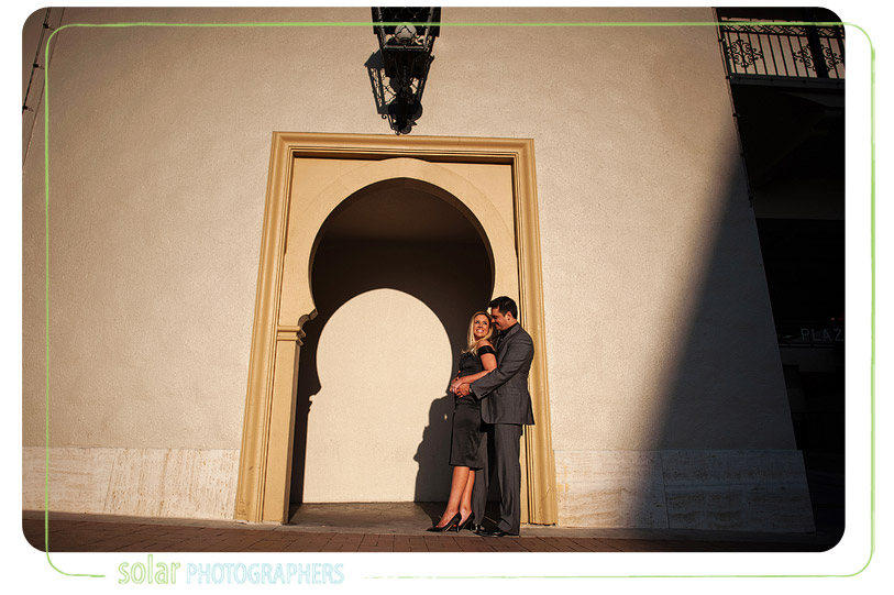 Beautiful harsh light engagement picture.