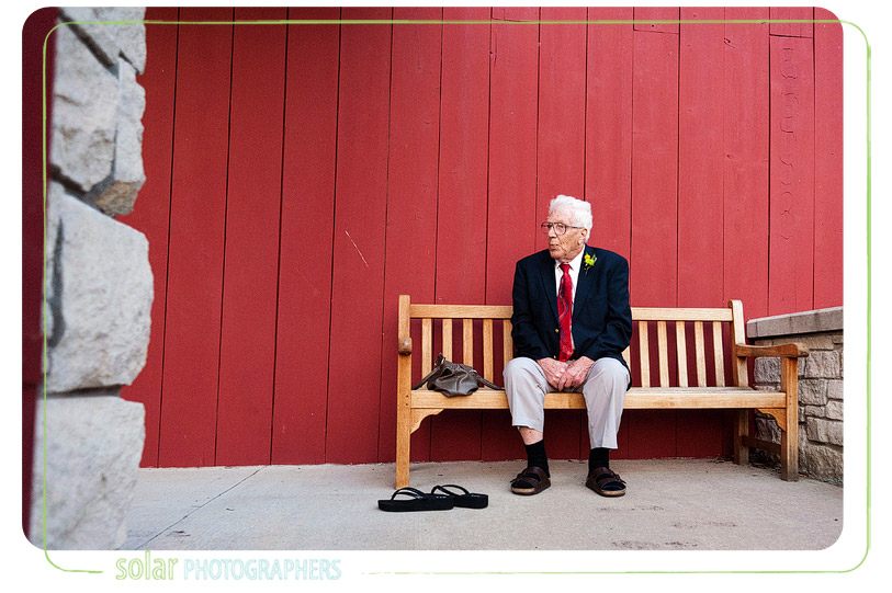 Grandpa on a bench.