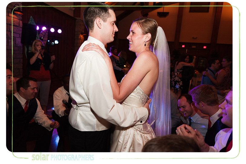 Newlyweds serenaded at their awesome Kansas City wedding reception.