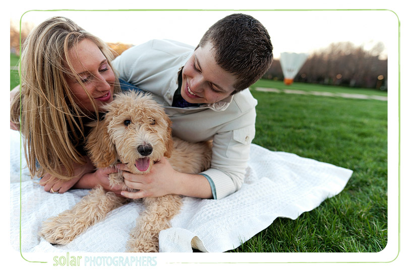 Awesome engagement photo taken with their labradoodle puppy.