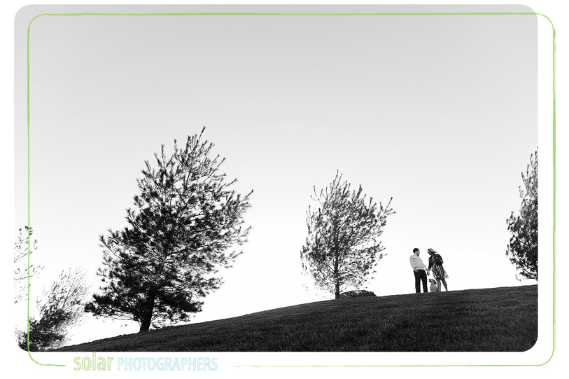 Couple on a hill in Kansas City with their dog.