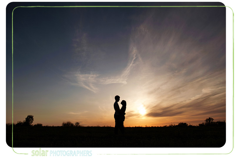 Beautiful sunset engagement portrait in Kansas City.