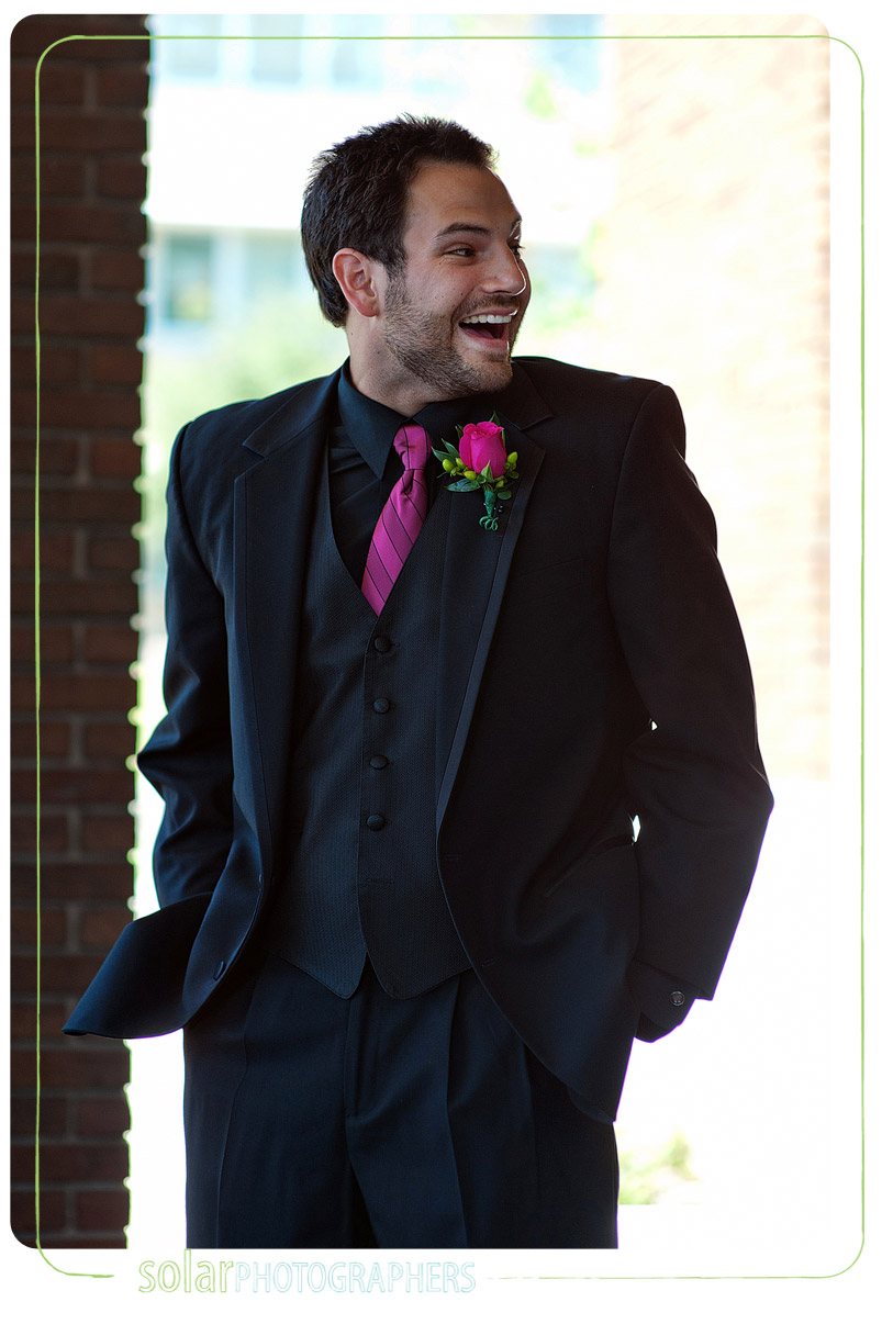 Excited groom as he sees his bride for the first time.