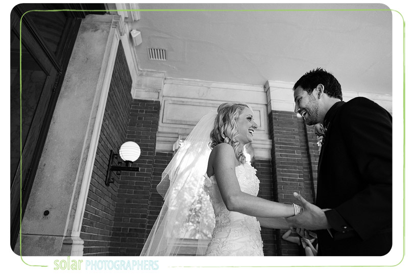 Excited bride and groom on their wedding day.