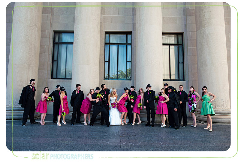 Super fun bridal party at nelson atkins museum.