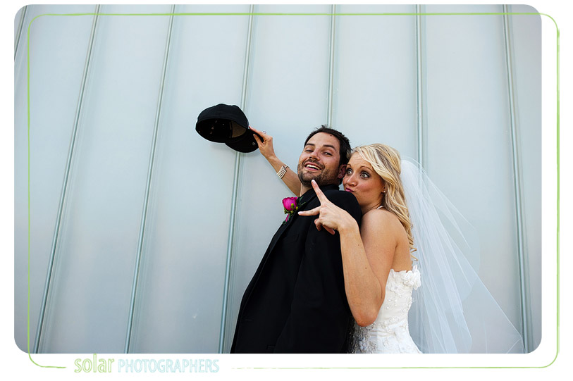 fun bride and groom picture