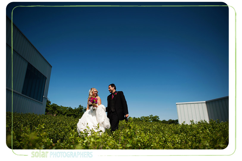 bride and groom walking at the nelson art museum