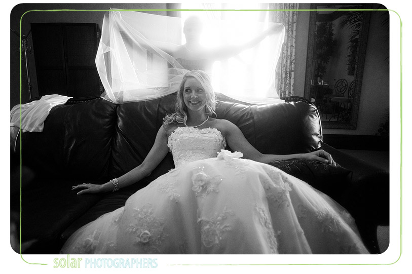 Bride on a couch.
