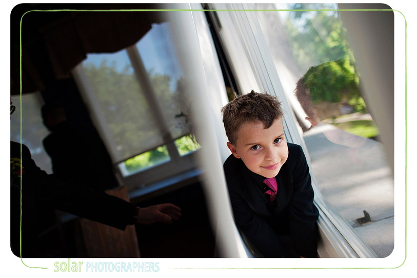 Ring bearer in the window.