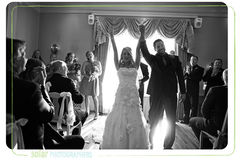 Excited bride and groom.