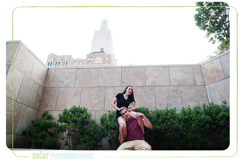 Fun engagement picture in downtown Kansas City.