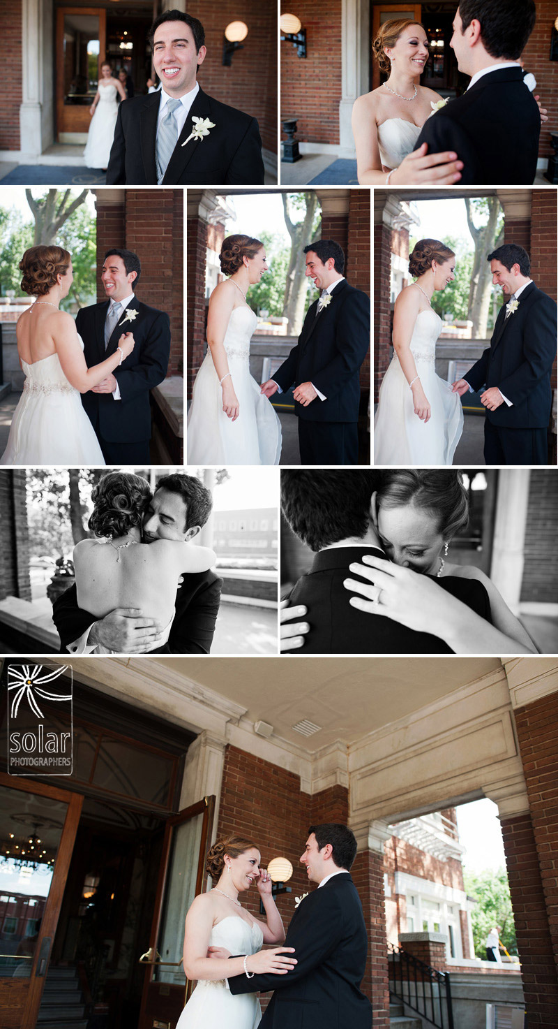Bride and grooms first moment at Loose Mansion in Kansas City.