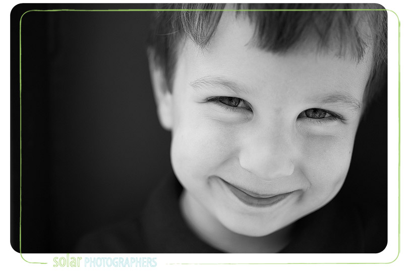 Beautiful black and white portrait of a boy.