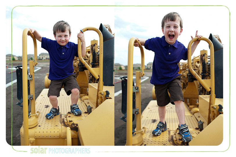 Boy jumping on construction equipment.
